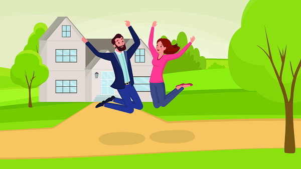 A man & woman jumping with joy after getting Home Loan from Fedbank